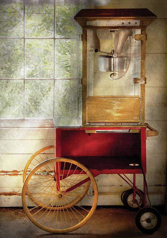 Savad Poster featuring the photograph Carnival - The Popcorn Cart by Mike Savad