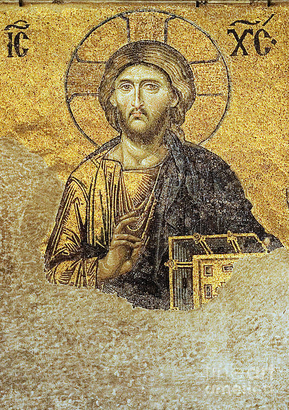 Christian Mosaic Poster featuring the photograph Christ Pantocrator-detail Of Deesis Mosaic Hagia Sophia-judgement Day by Urft Valley Art