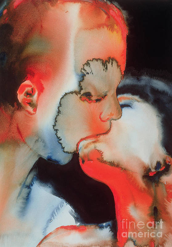 Close-up Kiss Poster featuring the painting Close Up Kiss by Graham Dean