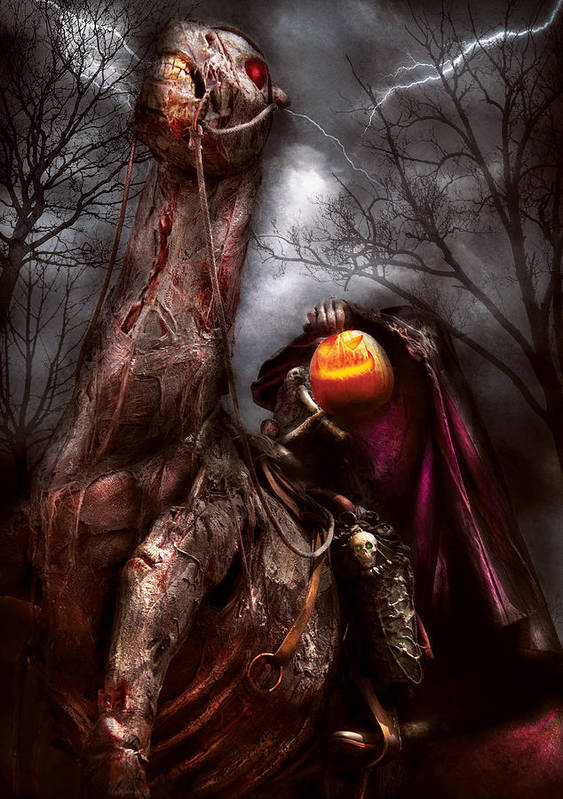 Savad Poster featuring the photograph Halloween - The Headless Horseman by Mike Savad
