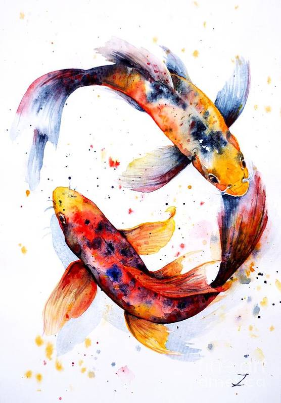 Koi Poster featuring the painting Harmony by Zaira Dzhaubaeva