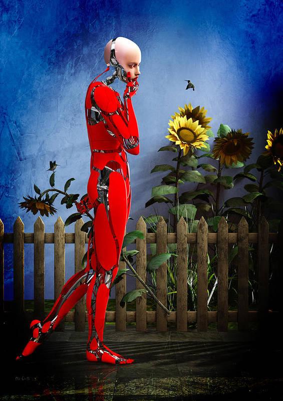 Robot Poster featuring the digital art Hummingbirds by Bob Orsillo