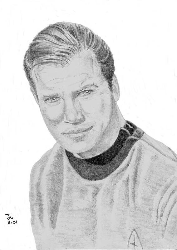 Captain Poster featuring the drawing James Tiberius Kirk by Thomas J Herring