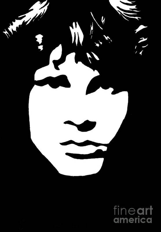 Black White Poster featuring the drawing Jim Morrison by Yael Rosen