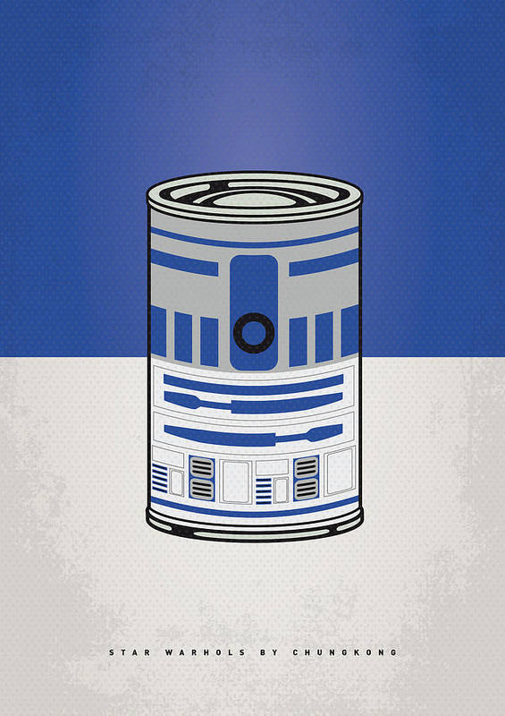Star Poster featuring the digital art My Star Warhols R2d2 Minimal Can Poster by Chungkong Art