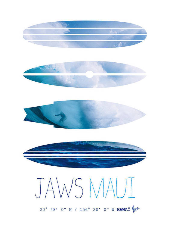 Minimal Poster featuring the digital art My Surfspots Poster-1-jaws-maui by Chungkong Art