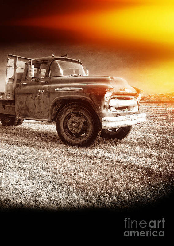 Explosion Poster featuring the photograph Old Farm Truck With Explosion At Night by Edward Fielding