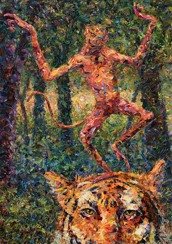 Monkey Poster featuring the painting Only A Crazy Monkey Dances On A Tiger's Head by James W Johnson
