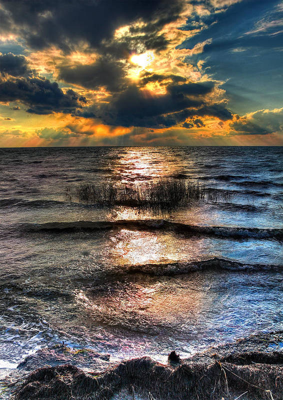 Outer Banks Poster featuring the photograph Outer Banks - Radical Sunset On Pamlico by Dan Carmichael