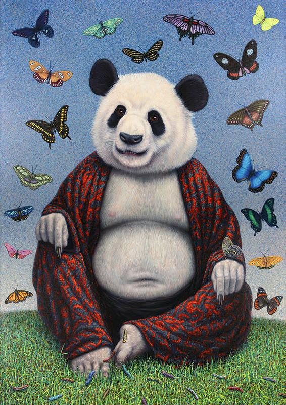 Panda Poster featuring the painting Panda Buddha by James W Johnson