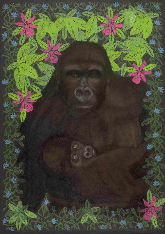 Gorilla Poster featuring the mixed media Primordial Spirit Of Motherhood by Diana Perfect