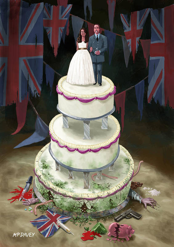 Wedding Poster featuring the drawing Royal Wedding 2011 Cake by Martin Davey