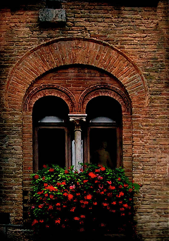Window Poster featuring the painting Sienna Window by Patrick J Osborne