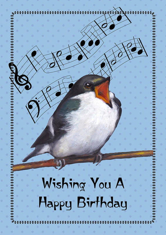 Birthday Poster featuring the pastel Singing Bird Birthday Card by Joyce Geleynse