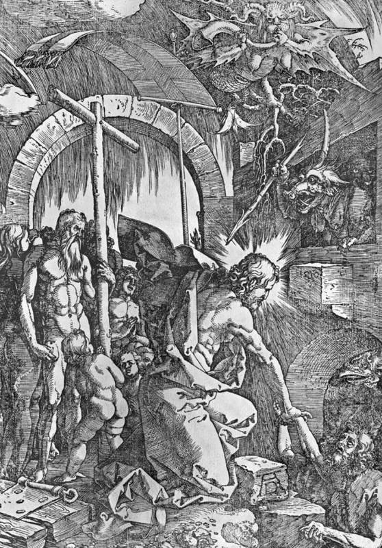Male Poster featuring the painting The Descent Of Christ Into Limbo by Albrecht Duerer