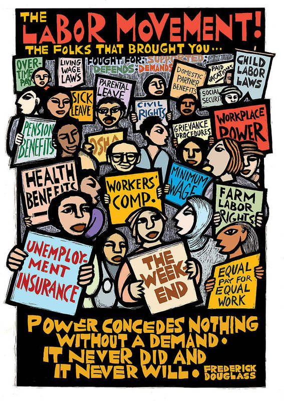 Labor Poster featuring the mixed media The Labor Movement by Ricardo Levins Morales