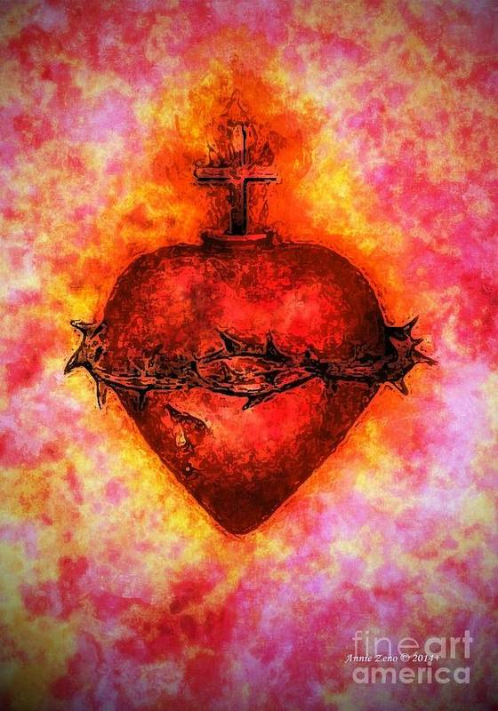 Annie Zeno Poster featuring the digital art The Sacred Heart Of Jesus Christ by Annie Zeno