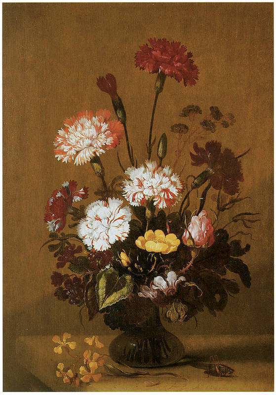 Hans Bollongier Poster featuring the painting Vase Of Flowers by Hans Bollongier
