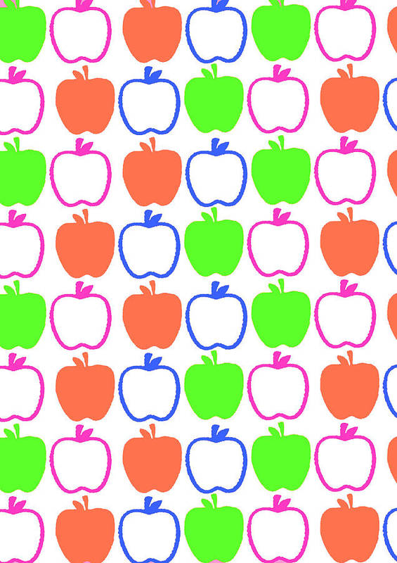 Louisa Poster featuring the digital art Apples by Louisa Knight