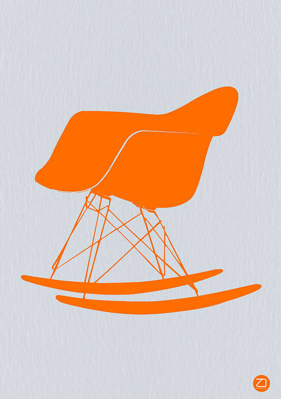 Eames Chair Poster featuring the photograph Eames Rocking Chair Orange by Naxart Studio