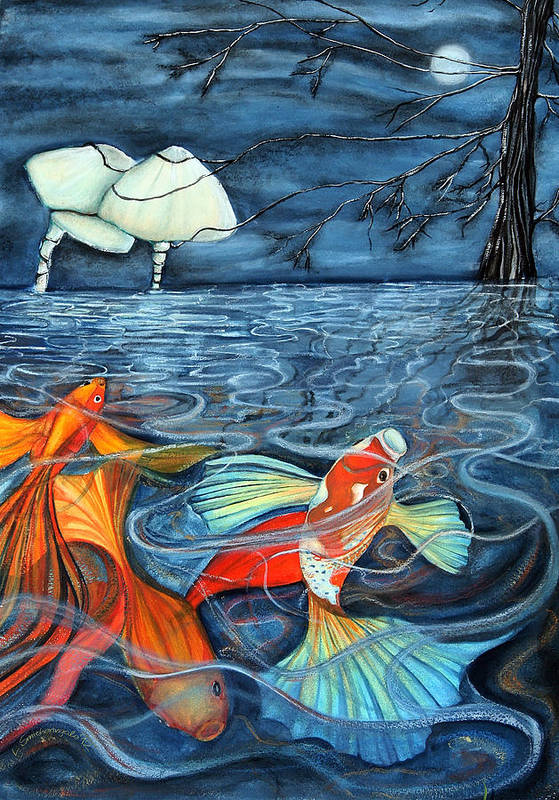 Goldfish Poster featuring the painting Moonlight Rendezvous by Lesley Smitheringale