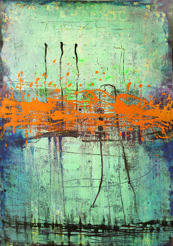 Abstract Poster featuring the painting Orange Visitation by Lolita Bronzini