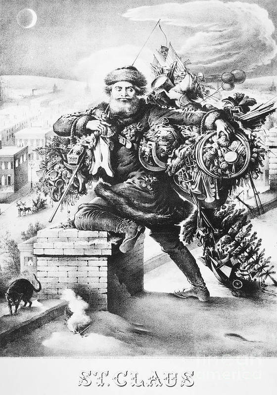 1872 Poster featuring the drawing Santa Claus by Granger