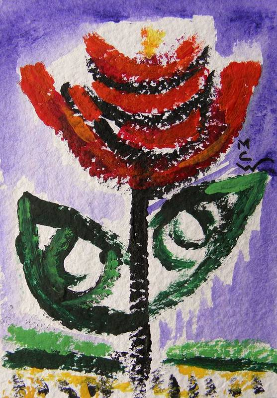 Red Flower Poster featuring the painting Tali-flowers From The Flower Patch by Mary Carol Williams