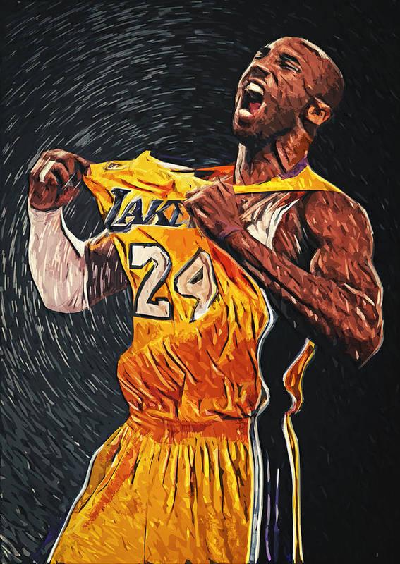 Kobe Bryant Poster featuring the painting Kobe Bryant by Taylan Apukovska