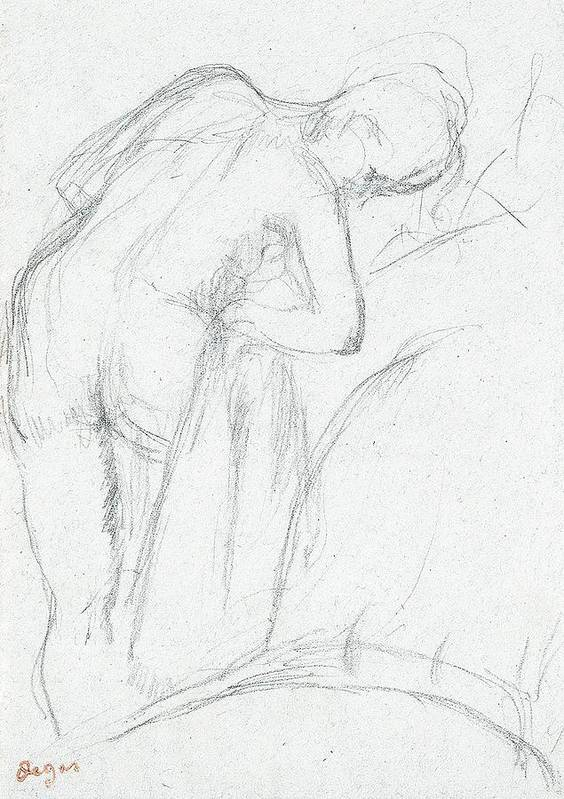 Degas Poster featuring the drawing After The Bath by Edgar Degas