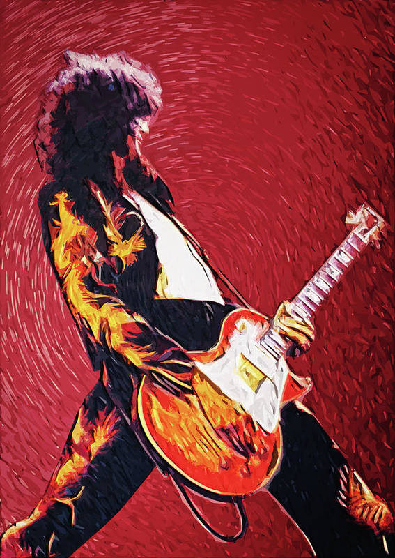 Led Zeppelin Poster featuring the digital art Jimmy Page by Taylan Soyturk