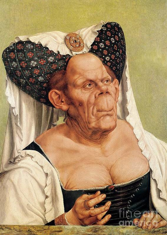 Grotesque Poster featuring the painting A Grotesque Old Woman by Quentin Massys