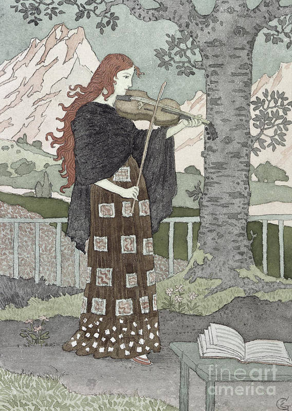 A Musician (w/c On Paper) By Eugene Grasset (1841-1917) Poster featuring the painting A Musician by Eugene Grasset