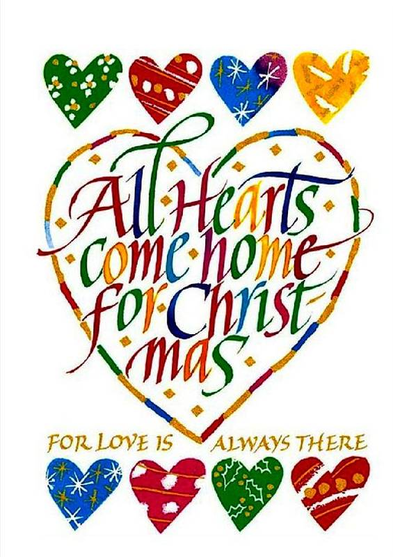 Christmas Poster featuring the digital art All Hearts Come Home For Christmas by Karon Melillo DeVega
