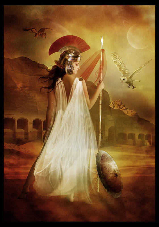 Woman Red Poster featuring the digital art Athena by Mary Hood