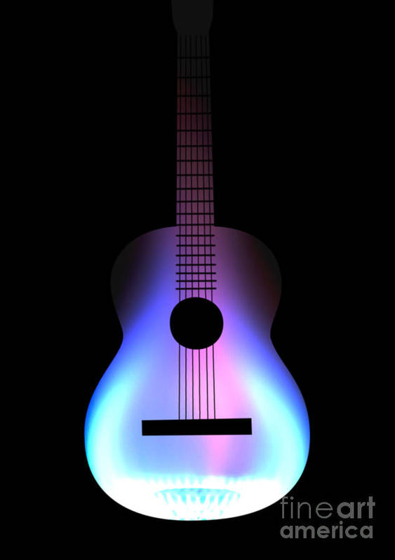 Acoustic Guitar Poster featuring the drawing Blues Guitar On Fire by Andy Smy