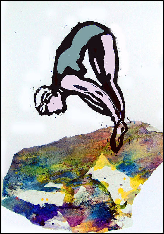 Lino Poster featuring the mixed media Dive - Evening Pool by Adam Kissel
