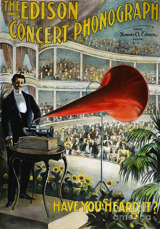 1899 Poster featuring the photograph Edison Phonograph Ad, 1899 by Granger