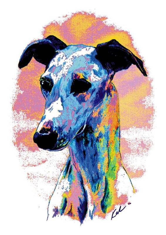 Electric Whippet Poster featuring the digital art Electric Whippet by Kathleen Sepulveda