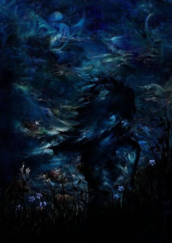 Moon Poster featuring the digital art Full Moon by Rachel Christine Nowicki