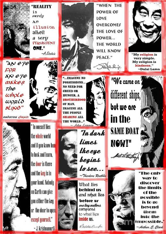 Albert Einstein Poster featuring the digital art In The Company Of Wise Men by Theodora Brown