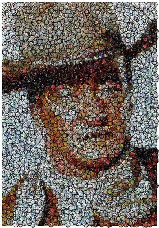 Duke Poster featuring the digital art John Wayne Bottle Cap Mosaic by Paul Van Scott