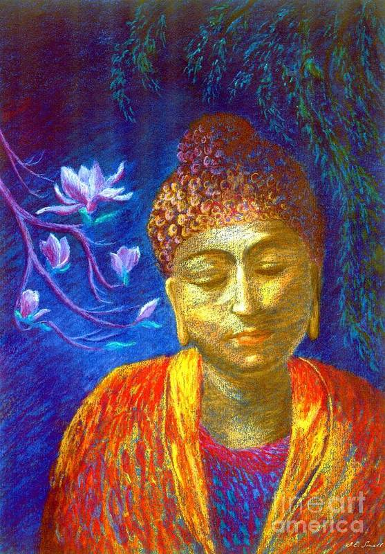 Buddha Poster featuring the painting Meeting With Buddha by Jane Small