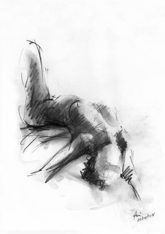 Nude Poster featuring the drawing Nude 4 by Ani Gallery