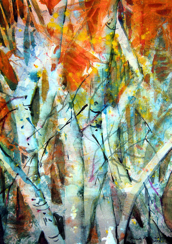 Waterfall Poster featuring the painting October Woods by Mindy Newman