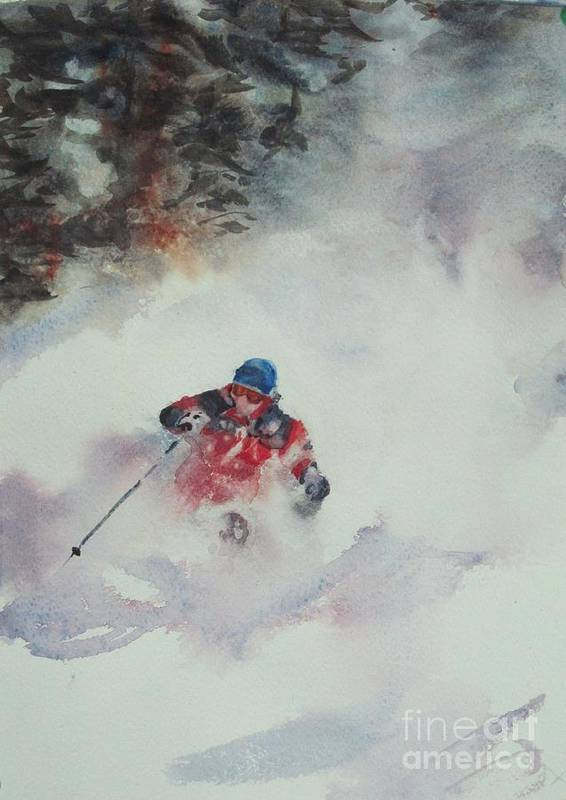 Skiing Poster featuring the painting Powder by Elizabeth Carr