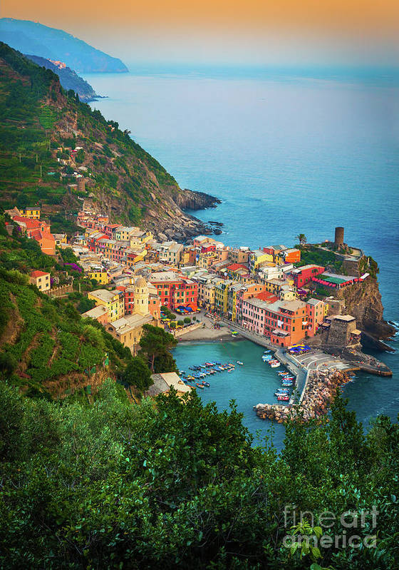 Cinque Terre Poster featuring the photograph Vernazza From Above by Inge Johnsson