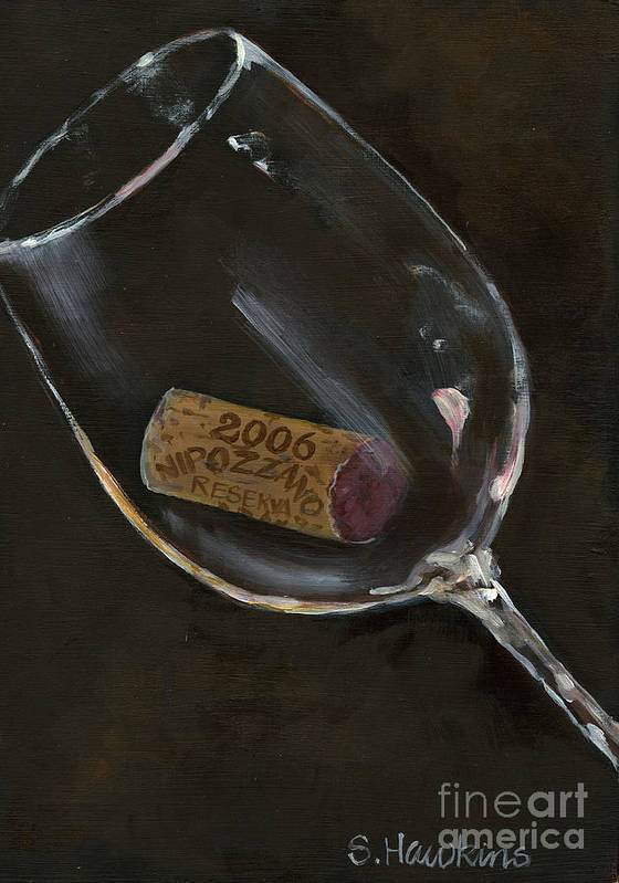 Wine Glass Poster featuring the painting Wine With Dinner by Sheryl Heatherly Hawkins