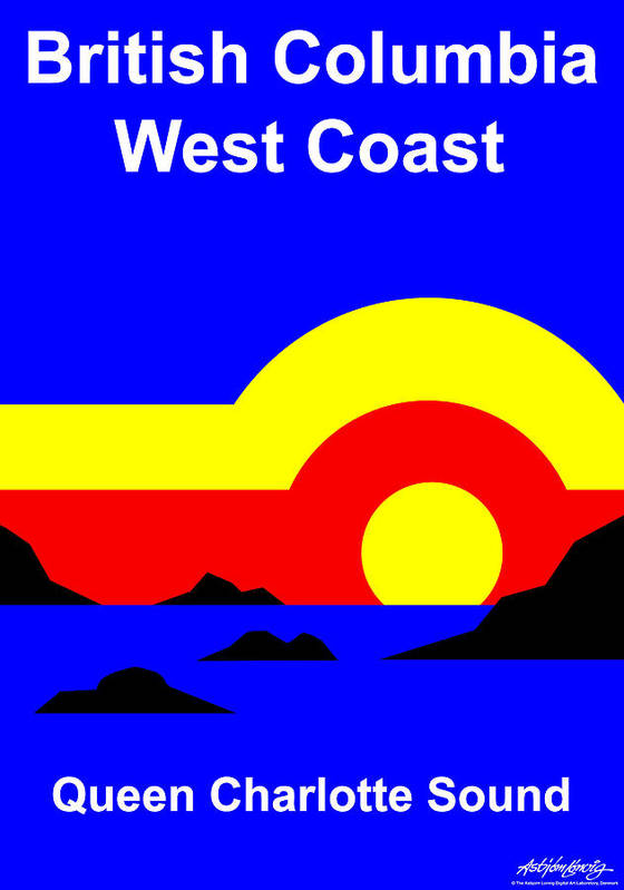Queen Charlotte Sound Poster featuring the digital art Qcs Sunset by Asbjorn Lonvig