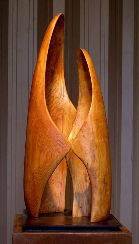 Wood Poster featuring the sculpture Touching by Robert Hartl